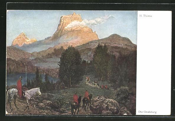 Künstler-AK Hans Thoma: Die Gralsburg, Ritter auf Pferden auf dem Weg zur Burg