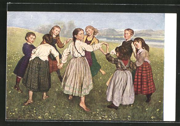Künstler-AK Hans Thoma: Kinderreigen, Kinder beim Ringeltanz