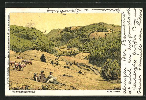 Künstler-AK Hans Thoma: Sonntagnachmittag, Junge Männer auf einer Wiese in den Bergen