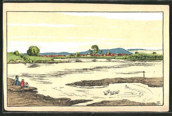 Künstler-AK Hans Thoma: Partie am Teich mit Gänsen im Wasser