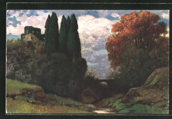 Künstler-AK Eduard Rüdisühli: Einsamkeit, Landschaft