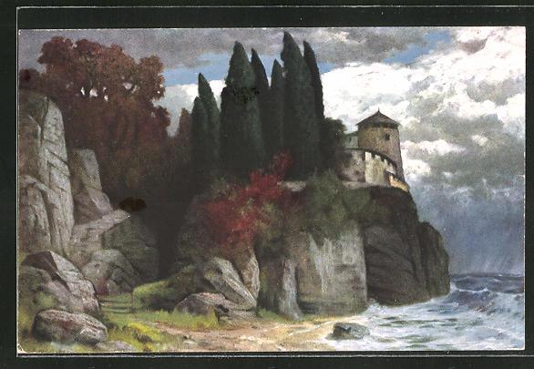 Künstler-AK Eduard Rüdisühli: Schloss am Meer