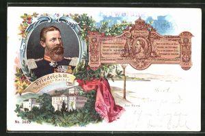 Lithographie San Remo, Villa Zirio & Friedrich Wilhelm III.