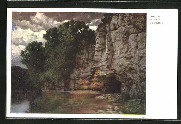 Künstler-AK Eduard Rüdisühli: Felsenhöhle, Landschaft