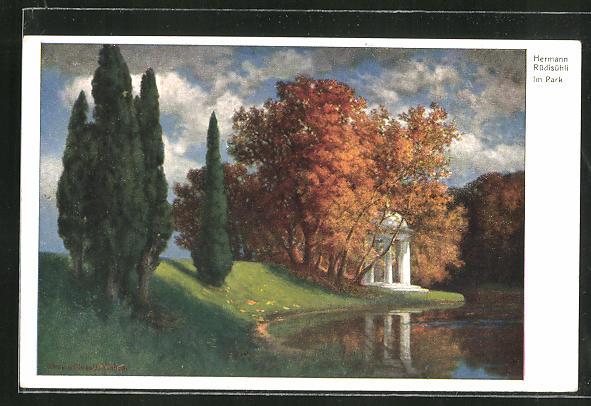 Künstler-AK Eduard Rüdisühli: Im Park, Landschaft