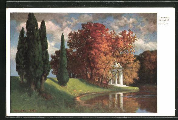 Künstler-AK Hermann Rüdisühli: Im Park, Idyll mit kleiner Kapelle