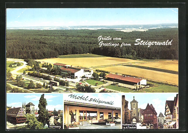 AK Steigerwald, Autobahn-Rasthaus-Motel, Nürnberg, Rothenburg o. d. Tauber