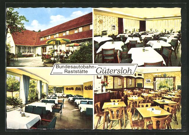 AK Gütersloh, Bundesautobahn-Raststätte, vier Motive