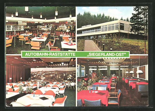 AK Freudenberg, Autobahn-Raststätte Siegerland-Ost, vier Motive