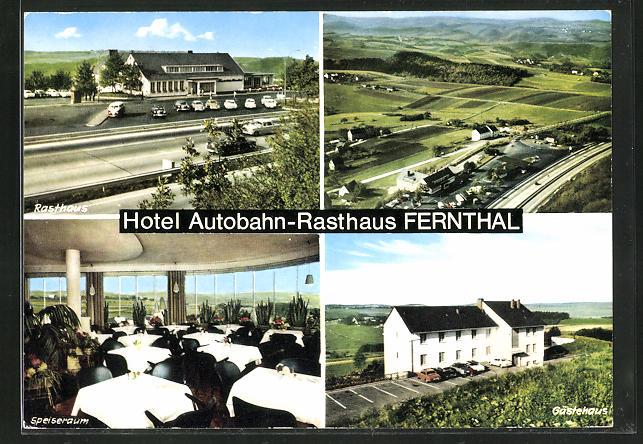 AK Neustadt-Fernthal, vier Motive vom Autobahn-Rasthaus