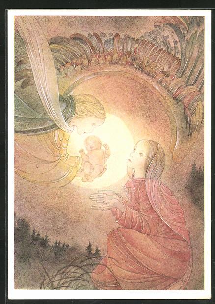 Künstler-AK Sulamith Wülfing: Die Gabe, Engel bringt Jesus