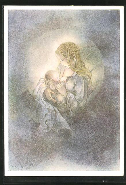 Künstler-AK Sulamith Wülfing: Der Kreis, Mutter stillt Säugling