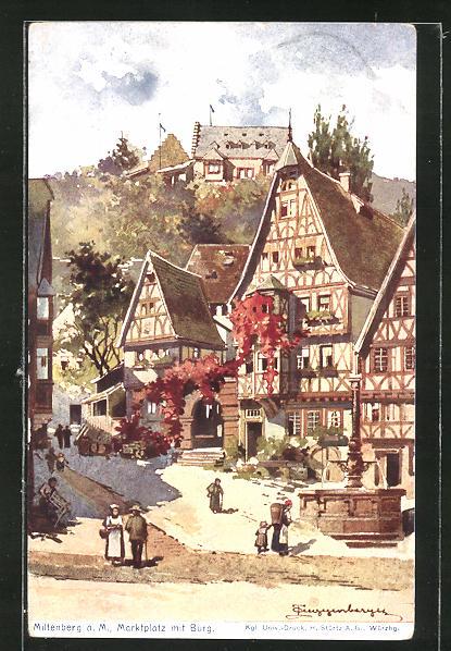 Künstler-AK Theodor Guggenberger: Miltenberg a/M, Marktplatz mit Burg