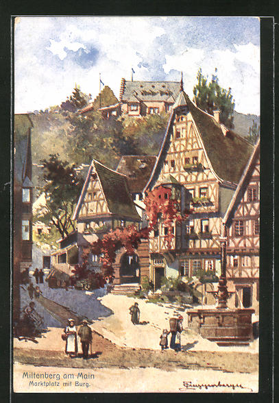 Künstler-AK Theodor Guggenberger: Miltenberg a/M, Marktplatz und Burg