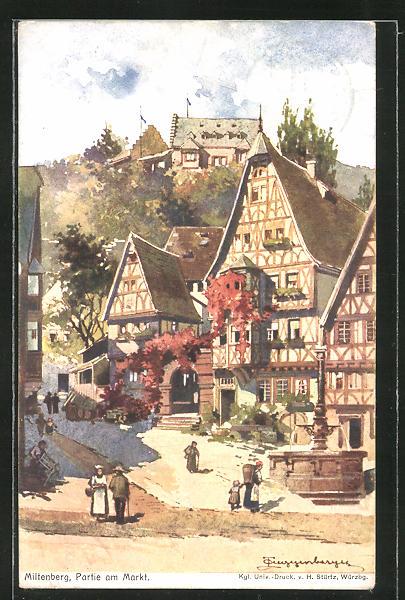 Künstler-AK Theodor Guggenberger: Miltenberg a/M, Partie am Markt mit Burg