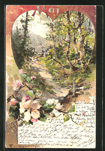 Künstler-Lithographie Theodor Guggenberger: Mai, Landschaft, Allegorie