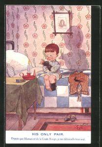 Künstler-AK T. Gilson: His only pair..., Kind stopft Socken