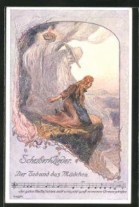 Künstler-AK sign. O. Elsner: Schubert-Lieder, Der Tod und das Mädchen, Noten