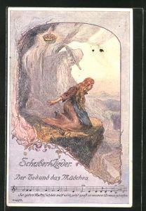Künstler-AK sign. O. Elsner: Schubert-Lieder, Der Tod und das Mädchen