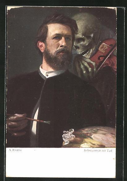 Künstler-AK Arnold Böcklin: Selbstportrait des Künstlers mit Tod