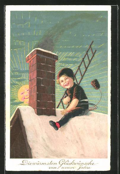 AK Schornsteinfegerjunge sitzt auf dem Dach mit Leiter, Neujahrsgruss