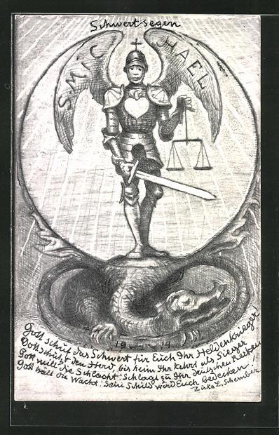 Künstler-AK Hans Thoma: Schwertsegen, Soldat mit Flügeln, Schwert und Waage