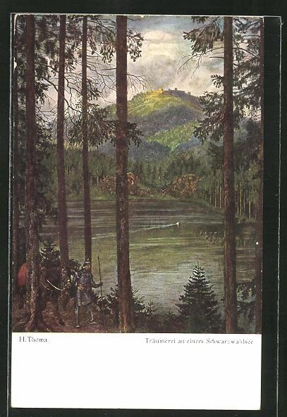 Künstler-AK Hans Thoma: Träumerei an einem Schwarzwaldsee