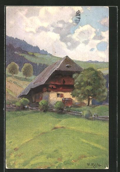 Künstler-AK Fritz Reiss: Schwarzwaldhaus im Sommer
