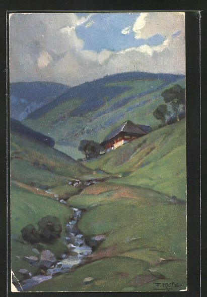 Künstler-AK Fritz Reiss: Schwarzwaldhaus an einem Bergbach