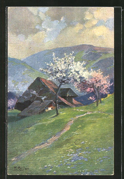 Künstler-AK Fritz Reiss: Schwarzwaldhaus zur Obstblüte