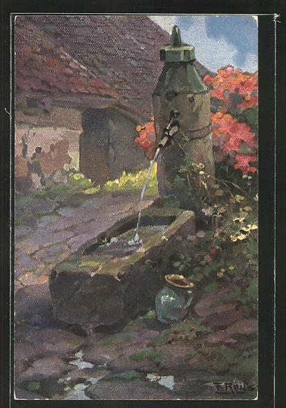 Künstler-AK Fritz Reiss: Brunnen in einem Schwarzwald-Dorf