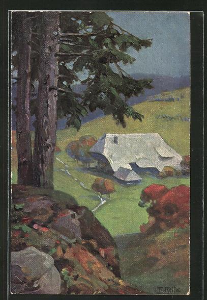 Künstler-AK Fritz Reiss: Schwarzwaldhaus im Herbst