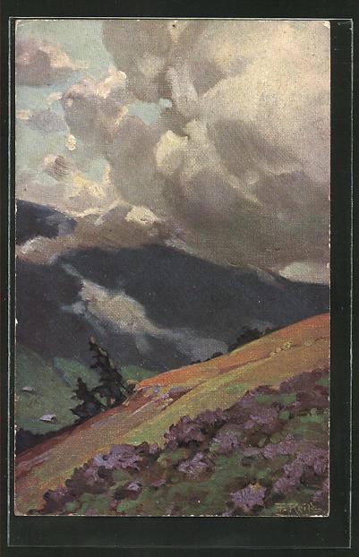 Künstler-AK Fritz Reiss: Schwarzwaldlandschaft unter schweren Wolken