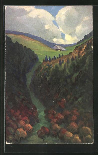 Künstler-AK Fritz Reiss: Schwarzwald-Landschaft im Herbst