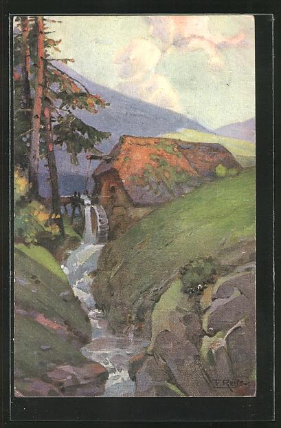 Künstler-AK Fritz Reiss: Schwarzwald-Mühle im Herbst