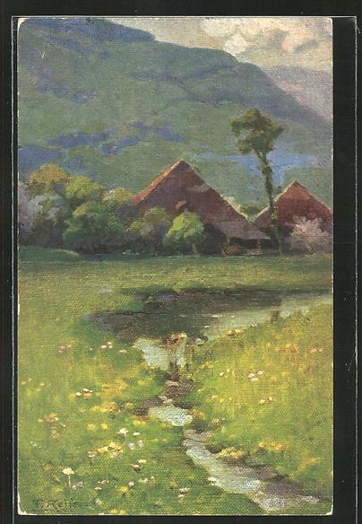 Künstler-AK Fritz Reiss: Frühling im Schwarzwald