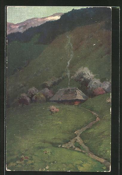 Künstler-AK Fritz Reiss: Schwarzwald-Dorf im Frühling
