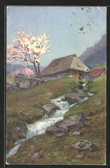 Künstler-AK Fritz Reiss: Schwarzwaldhaus am Bergbach im Frühling