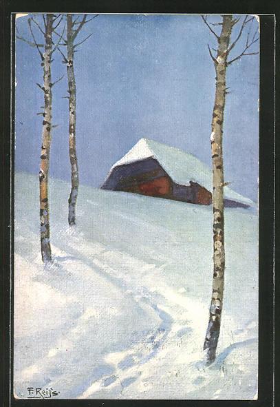 Künstler-AK Fritz Reiss: Schwarzwaldhaus im Winter