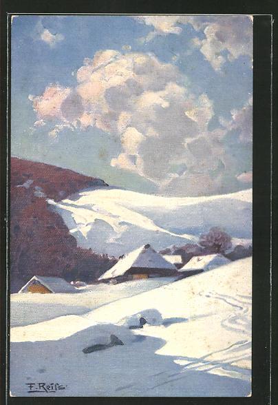 Künstler-AK Fritz Reiss: Schwarzwald-Dorf im Winter