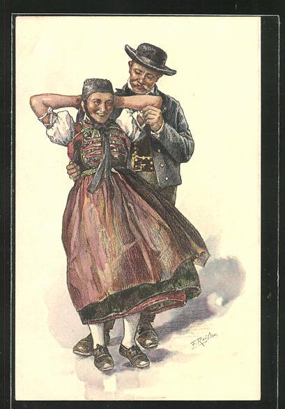 Künstler-AK Fritz Reiss: Schwarzwälder Paar beim Tanz