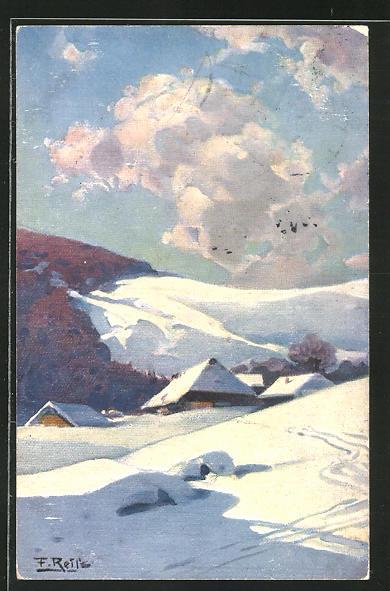 Künstler-AK Fritz Reiss: Eingeschneites Schwarzwald-Dorf