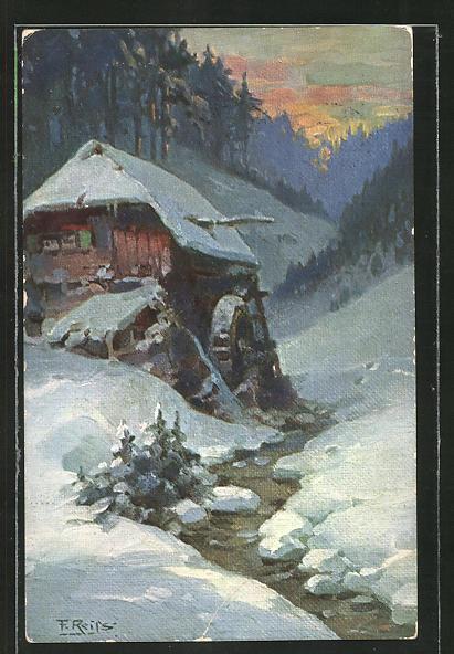 Künstler-AK Fritz Reiss: Schwarzwald-Mühle an einem Winterabend