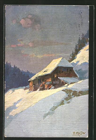 Künstler-AK Fritz Reiss: Schwarzwaldhaus an einem sonnigen Wintertag