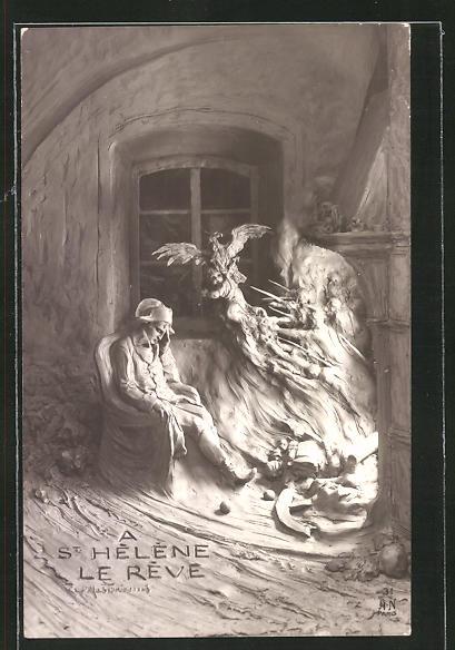 Künstler-AK Domenico Mastroianni: St. Hélène, Le Reve, Napoleon beim Tagträumen
