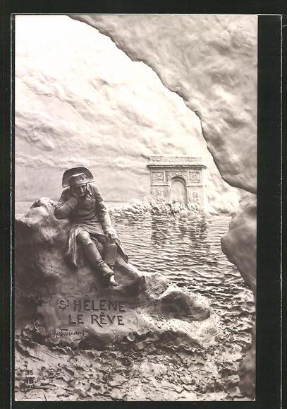 Künstler-AK Domenico Mastroianni: St. Hélène, Le Reve, Napoleon sitzt am Meer und träumt von vergangenem Ruhm