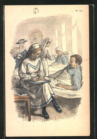 Künstler-AK Fritz Quidenus: Krankenschwestern kümmern sich um Verletzte im Lazarett
