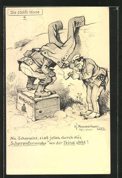 Künstler-AK Karl Pommerhanz: Steife Hose als Scherenfernrohr