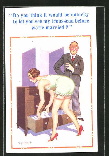 Künstler-AK Donald McGill: Mann sieht seine Verlobte in Unterwäsche