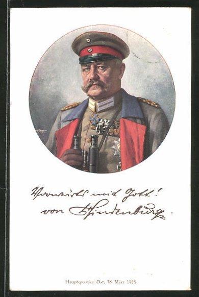 Künstler-AK Generalfeldmarschall Paul von Hindenburg in Uniform mit Feldstecher